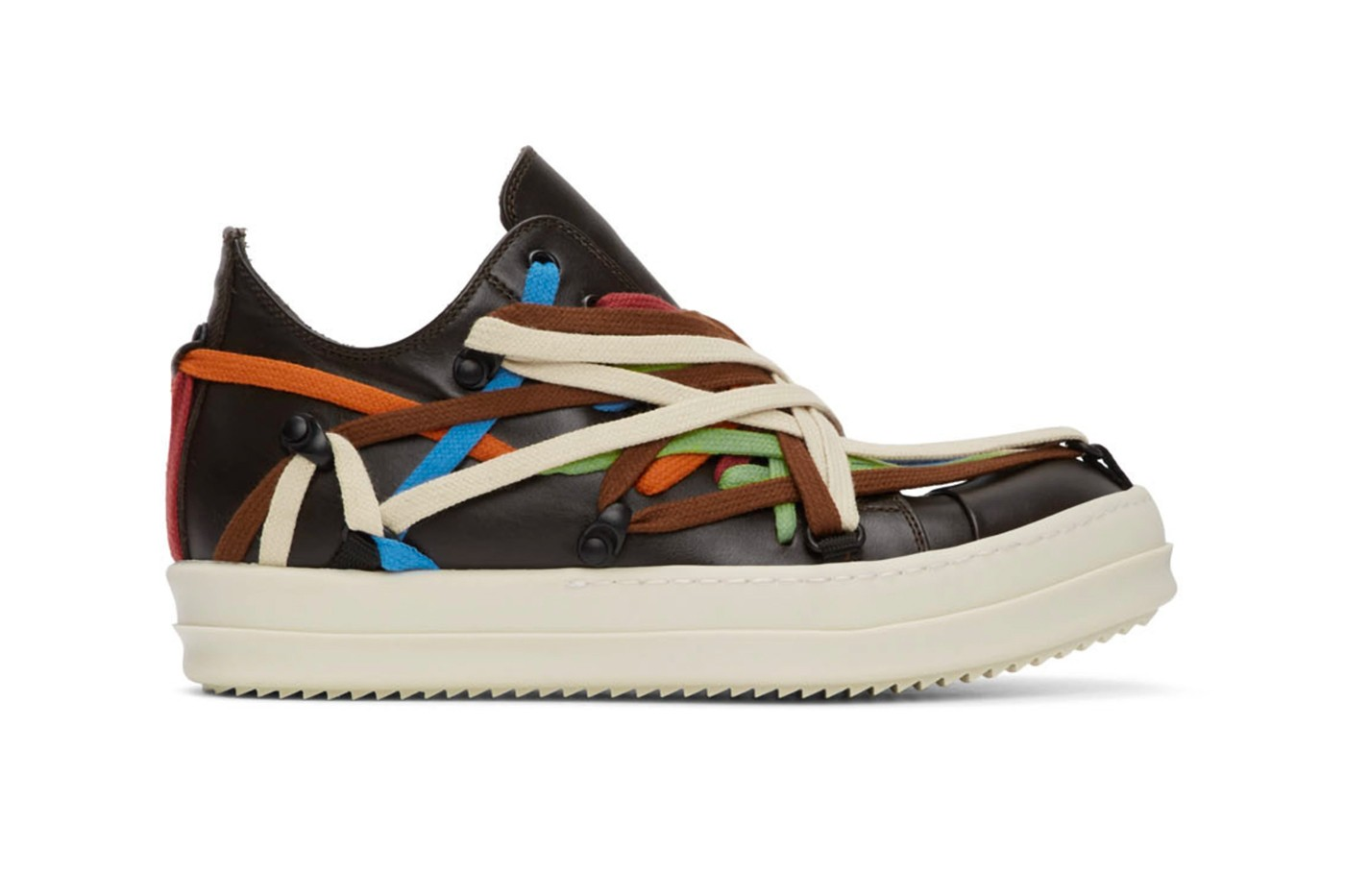 """Rick Owens continues to """"play rope"""" with the Vibrant Multi-colored Lace Sneakers"""